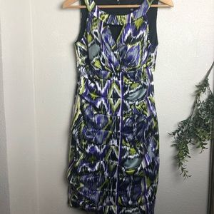 Signature Mid dress sleveeless purple and green